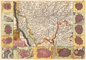 1747, La Feuille Map of Piedmont, Italy