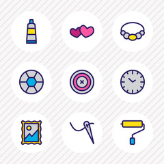 Vector illustration of 9 hobby icons colored line. Editable set of clock, paint roller, needlework and other icon elements.