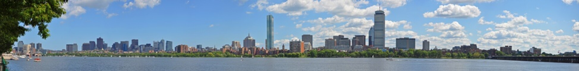Boston Back Bay Skyline John Hancock Tower and Prudential Center, viewed from Cambridge, Boston, Massachusetts, USA.