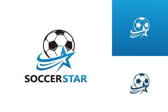 Soccer Star Logo Template Design Vector, Emblem, Design Concept, Creative Symbol, Icon