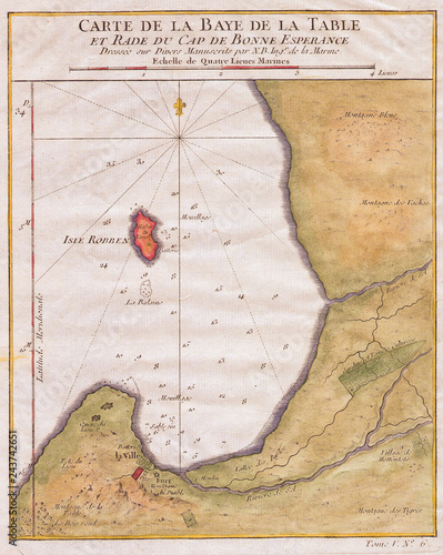 1763, Bellin Map of Cape Town, Cape of Good Hope South Africa\