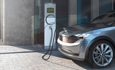 Electric SUV charging in a city parking lot 3d illustration