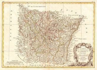1771, Bonne Map of Alsace and Lorraine, France, Rigobert Bonne 1727 – 1794, one of the most important cartographers of the late 18th century