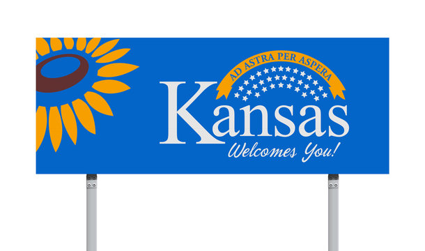 Welcome to Kansas road sign