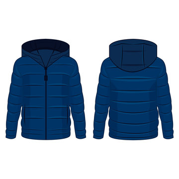 Blue winter down zipped jacket with hood isolated vector on the white background