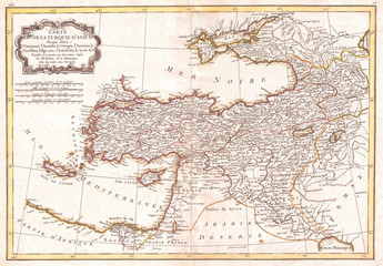 1771, Bonne Map of Turkey, Syria and Iraq, Rigobert Bonne 1727 – 1794, one of the most important cartographers of the late 18th century