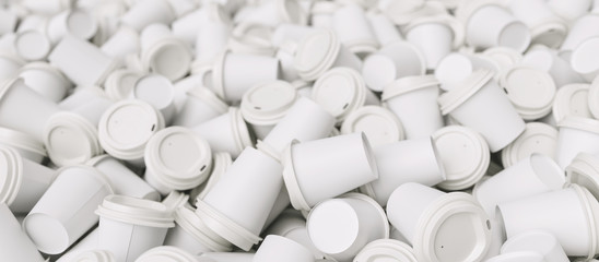 pile of white empty trash to go coffee cups