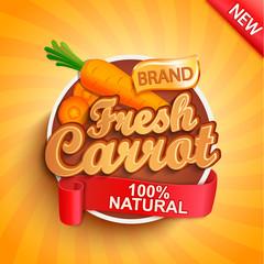 Fresh carrot logo, label or sticker on sunburst background. Natural, organic food. Concept of tasty vegetable for farmers market, shops, packing and packages, advertising design.Vector illustration.