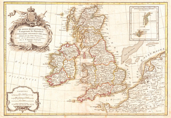 Fototapete - 1771, Zannoni Map of the British Isles, England, Scotland, Ireland