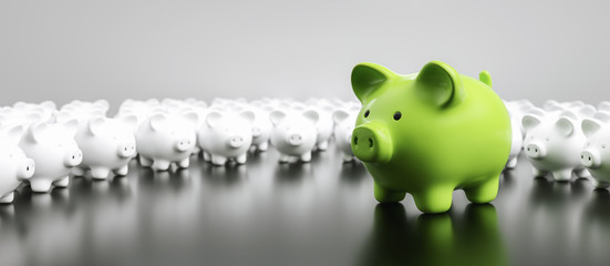 Big green piggy bank with small white piggy banks on a table, banner size