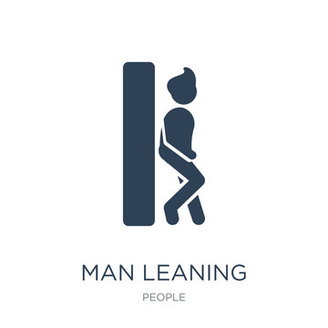 man leaning against the wall icon vector on white background, ma