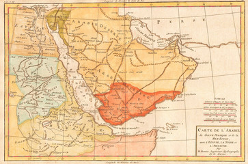 1780, Bonne Map of Arabia, Egypt and Ethiopia, Rigobert Bonne 1727 – 1794, one of the most important cartographers of the late 18th century