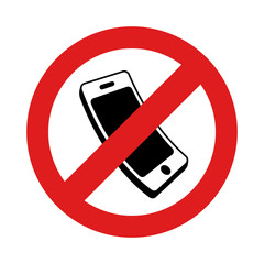 No cell phone sign on white background. Vector illustration