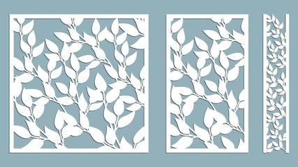 Set template for cutting. Leaves pattern. Laser cut. Vector illustration. Pattern for the laser cut, serigraphy, plotter and screen printing.