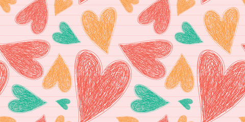 Heart seamless pattern. Vector love illustration. Valentine's Day, Mother's Day. Wedding, scrapbook, gift wrapping paper, textiles. Doodle sketch. Color background