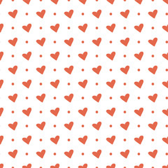 Heart seamless pattern. Vector love illustration. Valentine's Day, Mother's Day, wedding, scrapbook, gift wrapping paper, textiles. Doodle sketch. Red background
