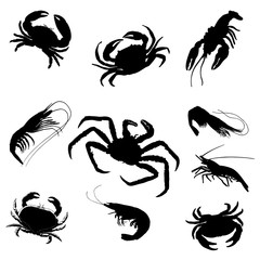 Black shrimp, cancer, crab silhouettes