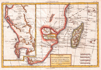 Fototapete - 1780, Raynal and Bonne Map of South Africa, Zimbabwe, Madagascar, and Mozambique, Rigobert Bonne 1727 – 1794, one of the most important cartographers of the late 18th century