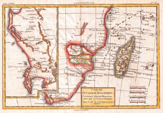 1780, Raynal and Bonne Map of South Africa, Zimbabwe, Madagascar, and Mozambique, Rigobert Bonne 1727 – 1794, one of the most important cartographers of the late 18th century