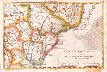 1780, Raynal and Bonne Map of Southern Brazil, Northern Argentina, Uruguay and Paraguay, Rigobert Bonne 1727 – 1794, one of the most important cartographers of the late 18th century