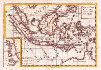 1780, Raynal and Bonne Map of the East Indies, Singapore, Java, Sumatra, Borneo, Rigobert Bonne 1727 – 1794, one of the most important cartographers of the late 18th century