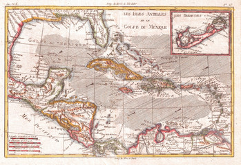 1780, Raynal and Bonne Map of the West Indies, Caribbean, and Gulf of Mexico, Rigobert Bonne 1727 – 1794, one of the most important cartographers of the late 18th century