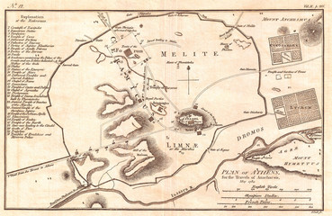 1784, Bocage Map of Athens, Greece
