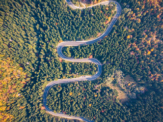 Top view of a curved road from high mountain pass, in autumn season, with orange forest. Aerial view by drone. Romania