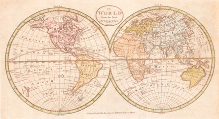 Fototapete - Old Map of the World, Payne 1798