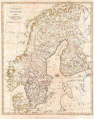 1799, Clement Cruttwell Map of Sweden, Denmark and Norway
