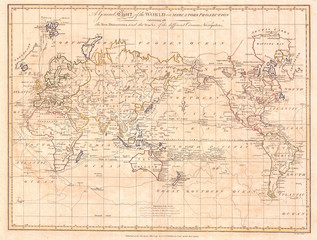 Fototapete - 1799, Cruttwell Map of the World on Mercator's Projection