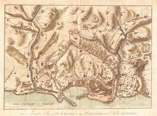 1800, Bardi Map of Genoa, Genova, Italy