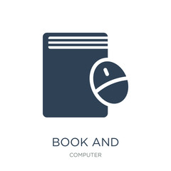 book and computer mouse icon vector on white background, book an