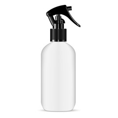 Trigger Pisttol Spray White Plastic Bottle. Hair Treatment Ingredient Moisture Jar. Isolated 3d Pack. Aromatic Essence Container with Beauty Nutrition Vitamin.