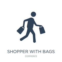 shopper with bags icon vector on white background, shopper with