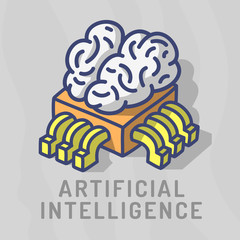 Artificial Intelligence Themed Design Hand Drawn Cartoon Funny Illustration With Computer Cpu Processor Chip And Human Brain Concept Vector Graphic