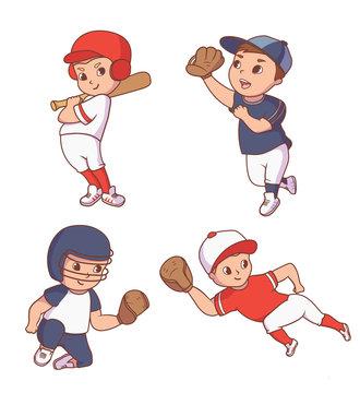 Set of baseball players, kid character set on white background