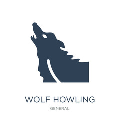 wolf howling icon vector on white background, wolf howling trend