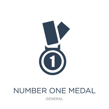 number one medal icon vector on white background, number one med