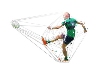 Rugby player kicking ball, isolated low poly vector illustration. Team sport
