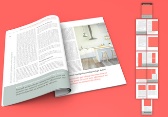 Magazine Layout with Gray and Coral Accents