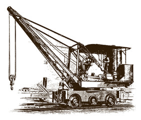 Two workers standing on a historic locomotive crane(after an etching or engraving from the 19th century)