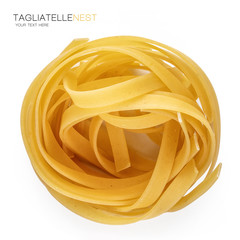 Close-up dried Italian pasta isolated on white