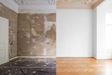 Obraz Wohnung renovieren - leeres Zimmer bevor und nach Renovierung  - fototapety do salonu