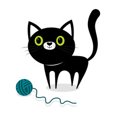 black cat with ball