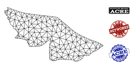 Black mesh vector map of Acre State isolated on a white background and rubber watermarks for networks. Abstract lines, dots and triangles forms map of Acre State.