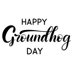 Vector lettering illustration for grounhog day