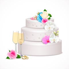 Wedding Cake Realistic Composition