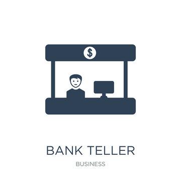 bank teller icon vector on white background, bank teller trendy