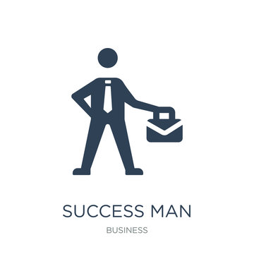 success man with suitcase icon vector on white background, succe